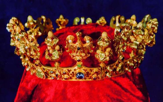Crown of Blanche of Valois, Queen consort of King Charles I, Bohemia (ca. 1345; gold, enamel, precious and semi-precious gemstones). Part of the Środa Treasure.