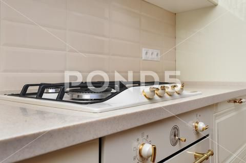 Gas Stove And Oven At Cream Colored Kitchen Stock Photo 101123710 With Images Cream Colored Kitchens Kitchen Colors Kitchen Stocked