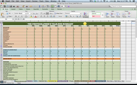 Tax Spreadsheets for Photographers Fotógrafos y Productos