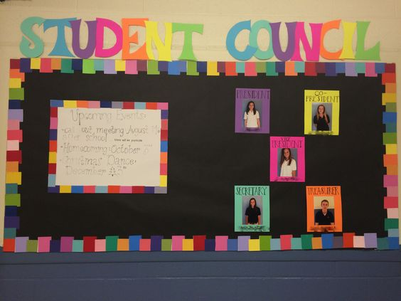 We decorated our student council bulletin board and it turned out amazing! The border is made out of paint samples!!