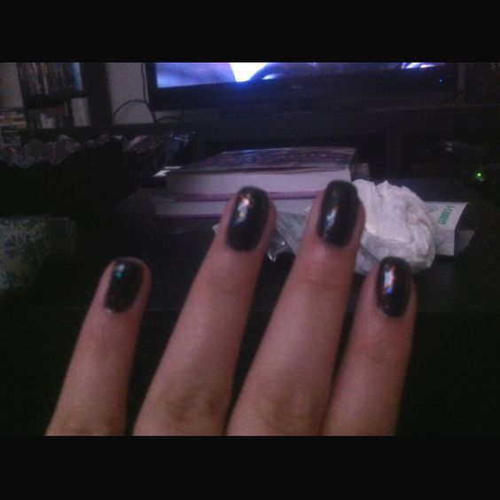 Shellac black pool with zillionaire glitter