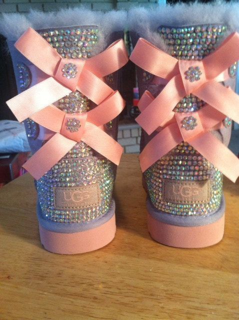 Youth Heathered Lilac And Pink Bailey Bow Ugg Boots Custom Bling Other Colors Available