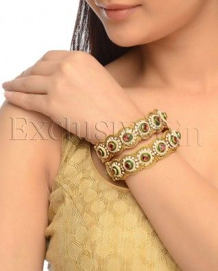 #Exclusivelyin, #IndianEthnicWear, #IndianWear, #Fashion, Set of 2: Golden Bangles With Floral Motif