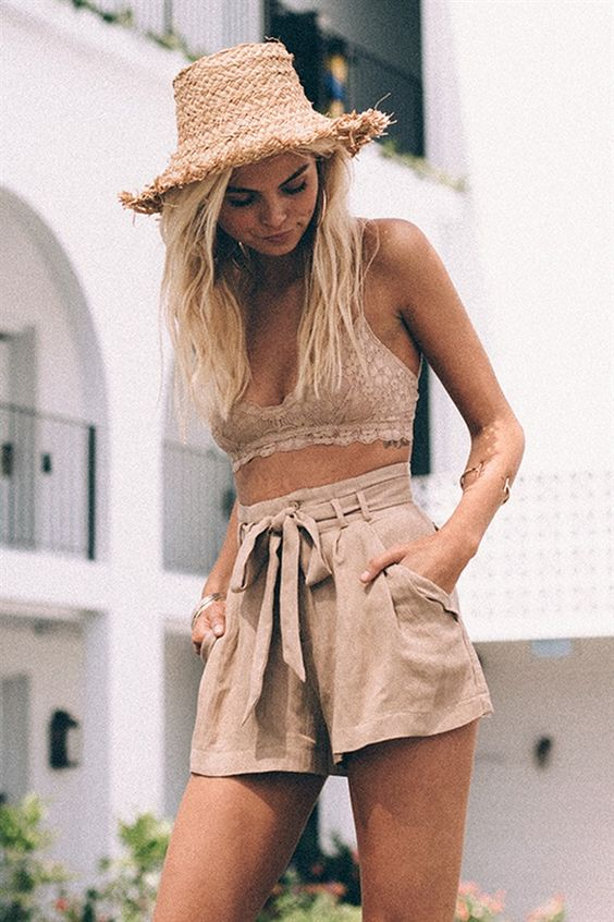 Coffee lace crop top+Coffee shorts and hat