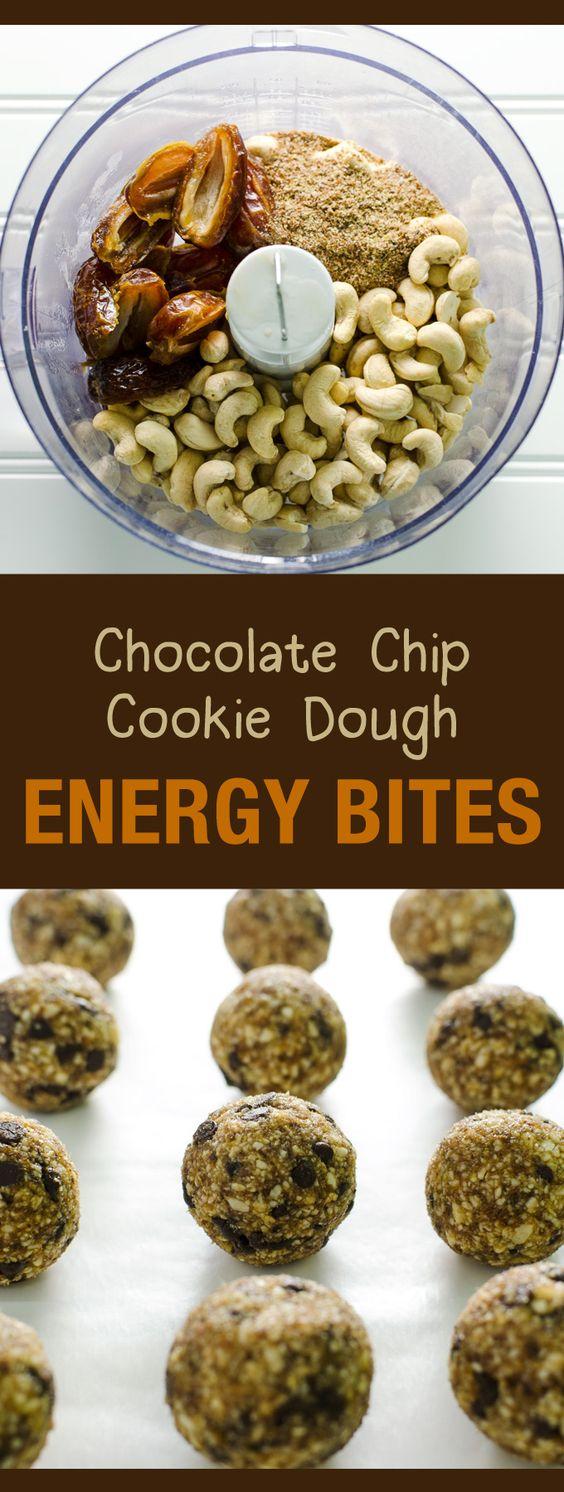 Chocolate Chip Cookie Dough Energy Bites  - a healthy snack or dessert - easy recipe - vegan and gluten free   VeggiePrimer.com