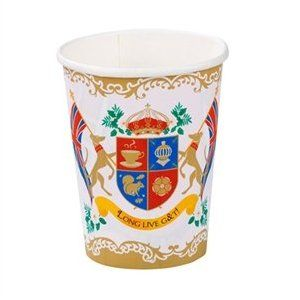 """These fun British Street Party Paper Cups are simply super for bubbles or Pimms, lemonade or squash! With 12 in a pack they make perfect party accessories that are sure to get a royal approval from all those who drink from them!These super party cups feature a novelty crest, complete with British flags and the words 'LONG LIVE G & T'."""