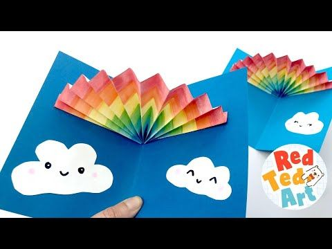 How To Make A Rainbow Card That Pop Ups This 3d Paper Rainbow Is Super Eays To Make Use Pens Water Diy Pop Up Cards Birthday Card Craft Card Making Birthday