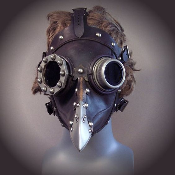 "Steampunk Plague Doctor mask. Character design inspiration for ""The Mortician."""