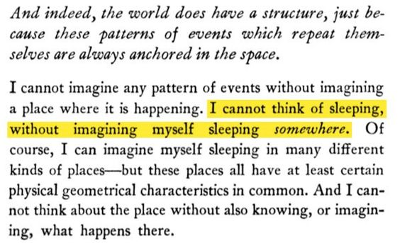 I cannot think of sleeping without imagining myself sleeping somewhere. - Quote found by Bret Victor (@worrydream) | Twitter