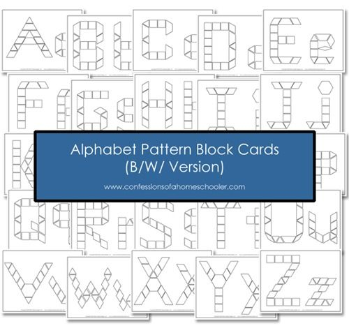 Free B W Alphabet Pattern Block Printables school ideas - pattern block template