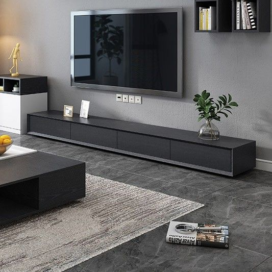 Modern 71 94 Inch Black Tv Stand Rectangle Media Stand Wood Tv Console With 3 Drawers 4 Drawers In 2021 Tv Stand Decor Living Room Modern Tv Stand Decor Living Room Tv Unit Designs