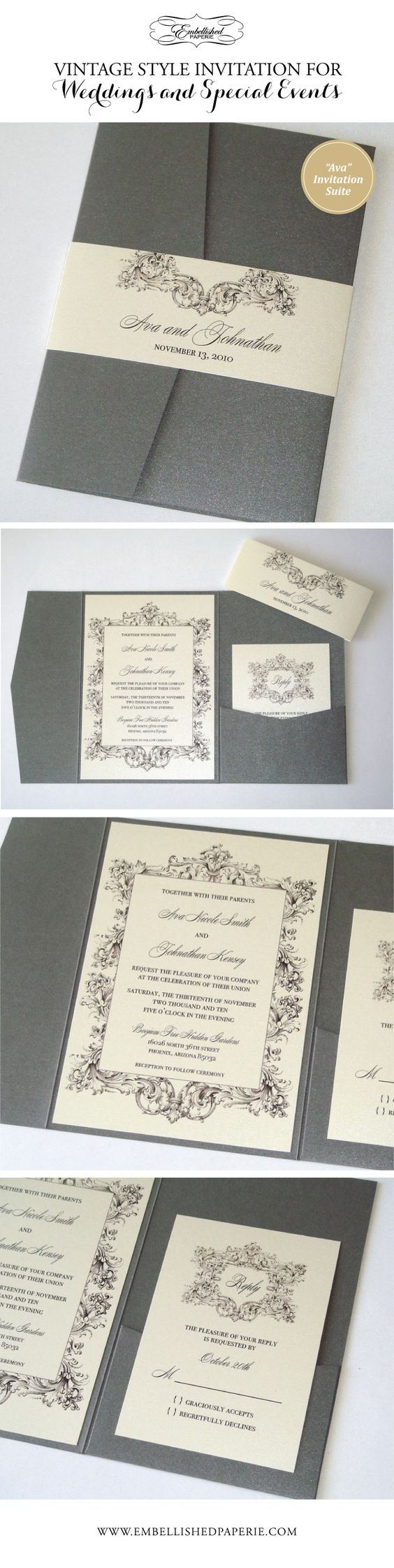 Vintage Wedding Invitation in Pewter Grey and Ivory.  Pewter Grey Metallic Pocket folder with Belly Band.  Invitation and RSVP Cards printed on Ivory metallic card stock.  Perfect Elegant Invitation for a Vintage Wedding or Event.  www.embellishedpaperie.com