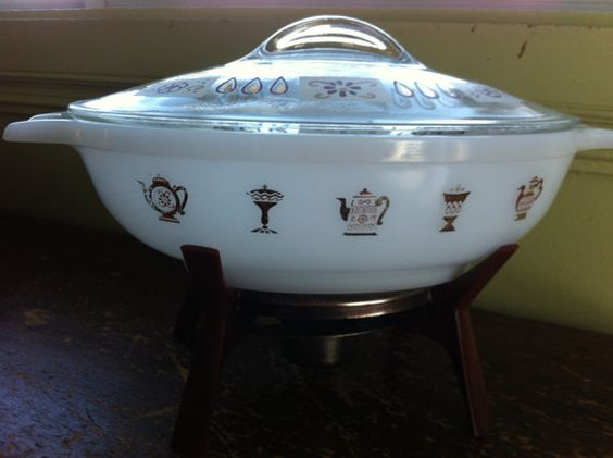 Glasbake Vintage Casserole with Lid and Warmer on Etsy, $20.00