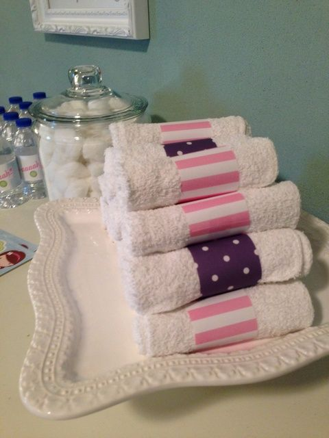 Spa Birthday Party Ideas | Photo 1 of 24 | Catch My Party - cute embellished towel favor idea.
