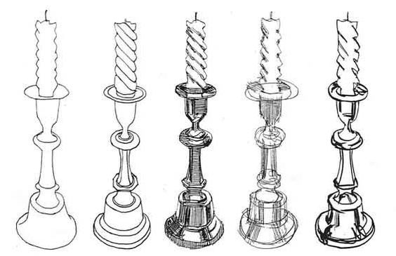 A line drawing of 5 different types of candles in pen and pencil