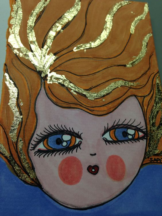 Mini art project using gold leafing of whimsical little faces @jacquelinearbizu.com