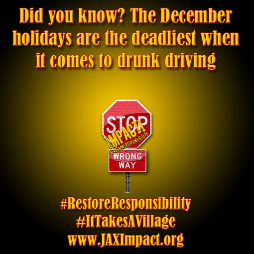 Did you know? The December holidays are the deadliest when it comes to #drunkdriving. #DriveSober or Get Pulled Over #RestoreResponsibility