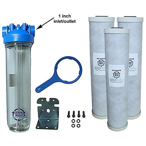 Kleenwater Premier4520cl Chlorine Whole House Water Filter System 1 Inch Inlet Outlet Whole House Water Filter Water Filters System Under Sink Water Filters