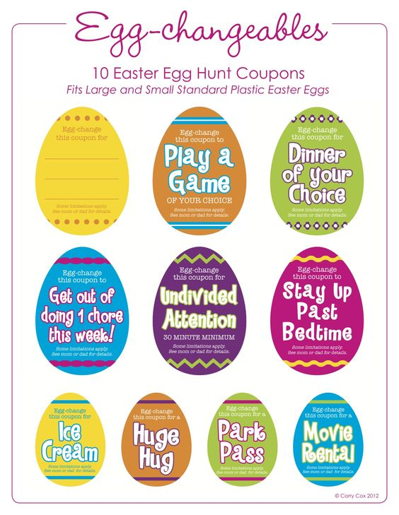 Egg Hunt Coupons In Bright Colors Easter Egg Fillers Easter Coupons Easter Egg Hunt