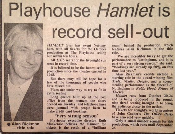 """The late great Alan Rickman playing Hamlet at Riverside Studios in 1992.""""Remembering a giant of British theatre + film, the great Alan Rickman 1946 - 2016″ Riverside Studios via twitter 18. Jan./14....:"