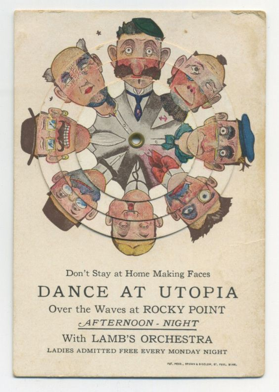 Rocky Point RI Mechanical Wheels Make Funny Faces C 1910 Ad Card for Dance | eBay