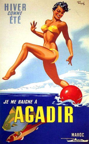 Vintage travel beach poster of Agadir, Maroc old french school . Maroc Désert Expérience tours http://www.marocdesertexperience.com