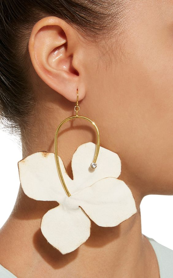 Fabric Flowers and Strass Earrings by MARNI Now Available on Moda Operandi