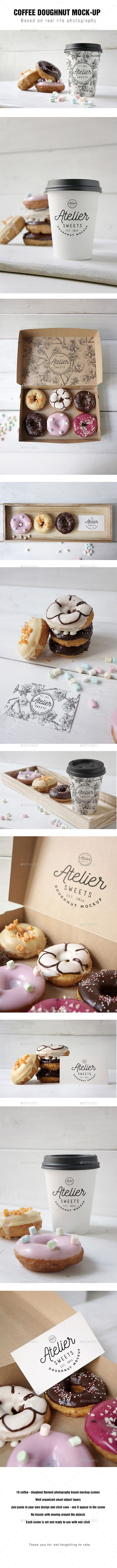 Coffee Doughnut Mockup — Photoshop PSD #psd mockup #food • Available here → https://graphicriver.net/item/coffee-doughnut-mockup/17144327?ref=pxcr