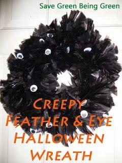 DIY Creepy Feather and Eye Halloween Wreath craft project  #halloween #Halloweendecorations