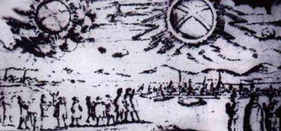 This picture shows a UFO sighting over Hamburg, Germany The objects were described as 'two glowing wheels' or UFOs November 4, 1697