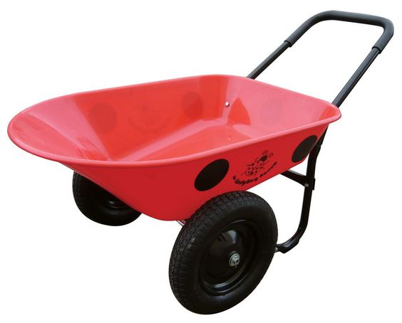 Red Wheelbarrow Utility Cart 2 Wheel Poly Tray 5 Cubic Feet Dump