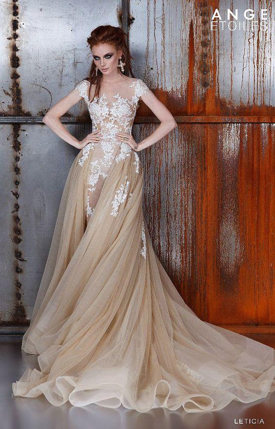 Wedding dress leticia unique wedding gown champagne for Champagne gold wedding dress