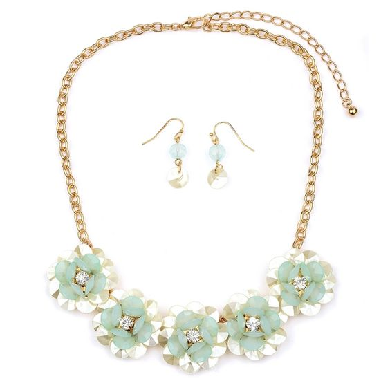 Pearlized Flower Necklace Set with Soft Mint Petals perfect spring accessory $28.95 click here to see more great accessories www.bellabridalandheirlooms.com