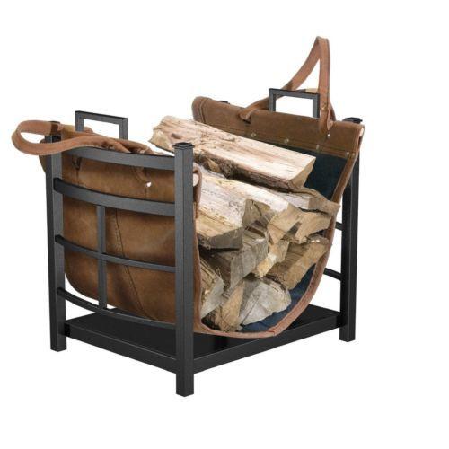 Wood Storage Rack Fireplace Log Bin Firewood Holder Leather Carrier Tote Steel