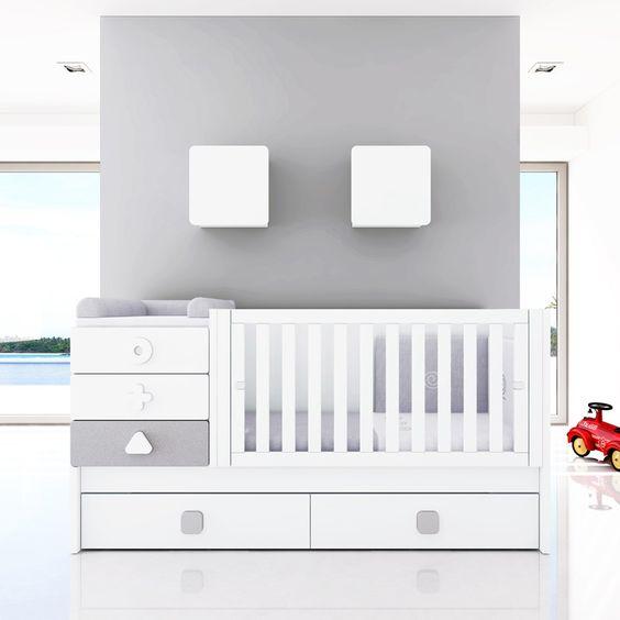 Cunas convertibles para beb s gris y blanco serie maths de - Alondra cunas convertibles ...