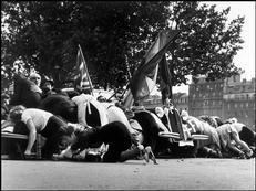 Robert Capa. Paris. Place de l'Hôtel de Ville. August 26th, 1944. German troops started shooting against the parade celebrating the liberation of the city.