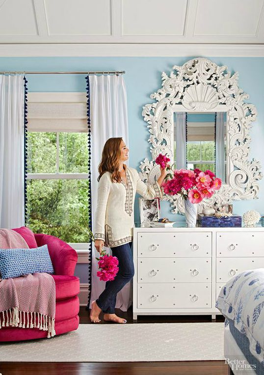 Those curtains!! | Brooke Shields bedroom in Better Homes and Gardens