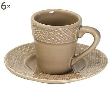 Set di 6 tazze con piattino in ceramica Juta vaniglia - 250 cc
