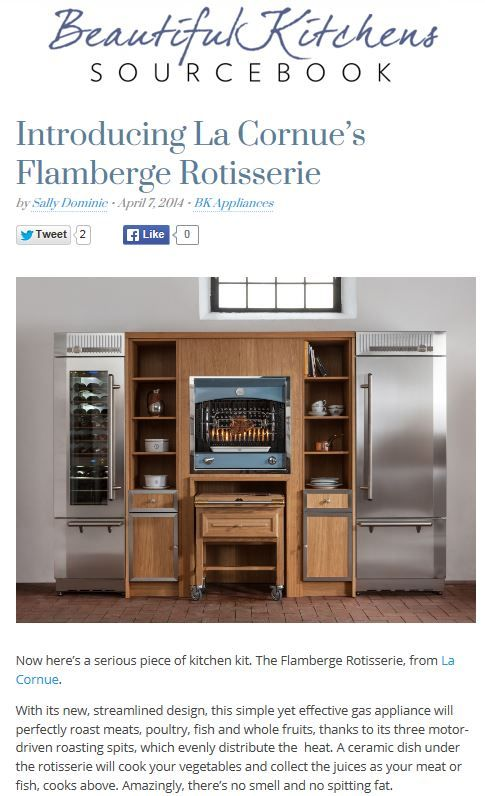 la cornue 39 s flamberge rotisserie perfectly roasts meats. Black Bedroom Furniture Sets. Home Design Ideas