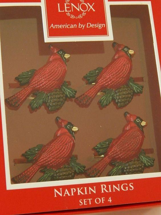 Lenox Holiday Christmas ~ Red Cardinal Bird Napkin Rings ~ Set of 4