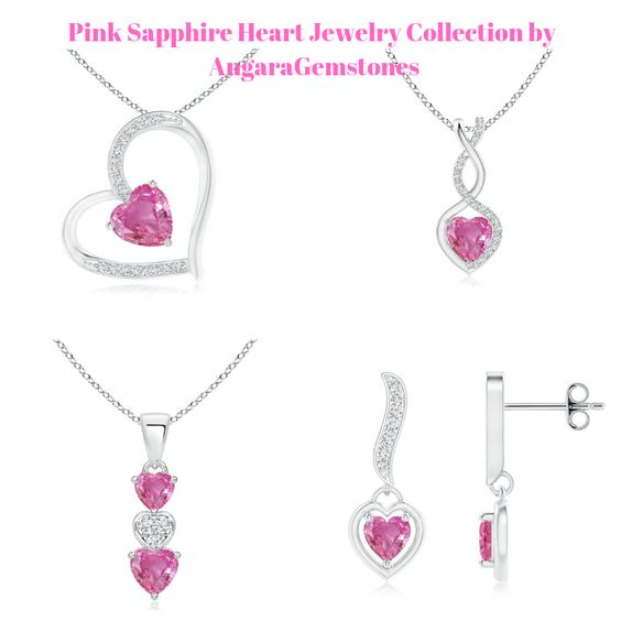 Pink Sapphire Heart Jewelry Collection by AngaraGemstones