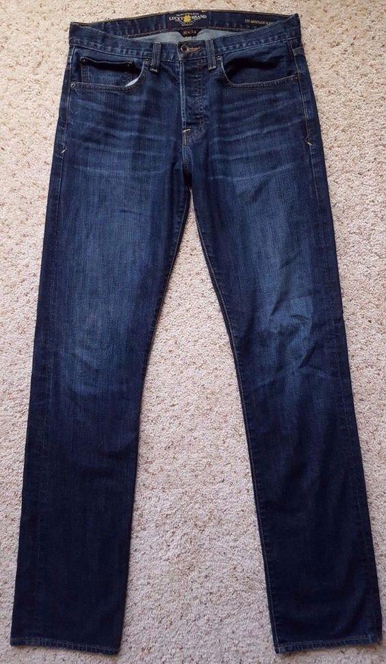LUCKY Brand JEANS 32 35 Mens BLUE Dark 121 HERITAGE Slim MAN Sz SIZE Jean DENIM* #LuckyBrand #SlimSkinny