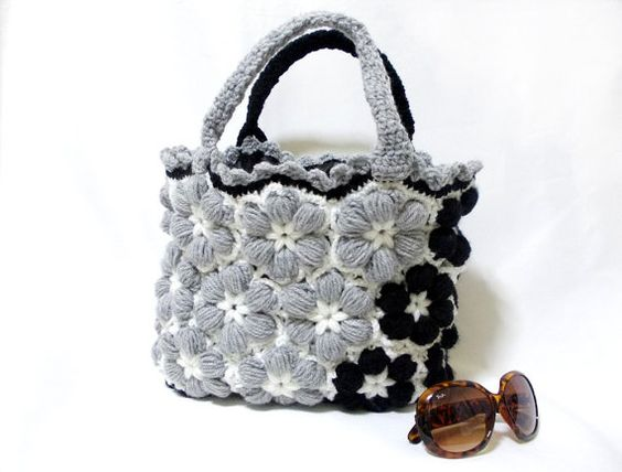 Free Shipping-Crochet handmade bag, Grey women bag, 2013 bags trends, Bag With Flower, Black bag, Black, Grey, Flower crochet handbag via Etsy