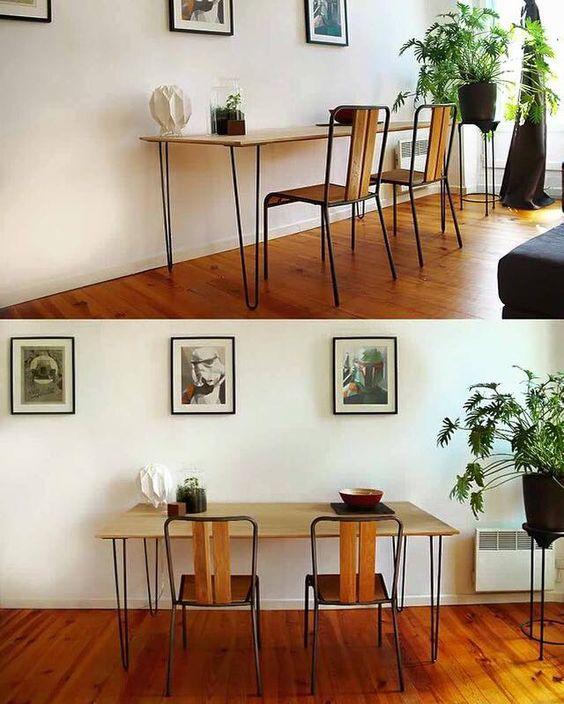 Bureau pour deux personnes r alis avec une planche en - Planche de bois pour bureau ...