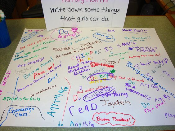 "Kids asked to write ""What girls can do"""
