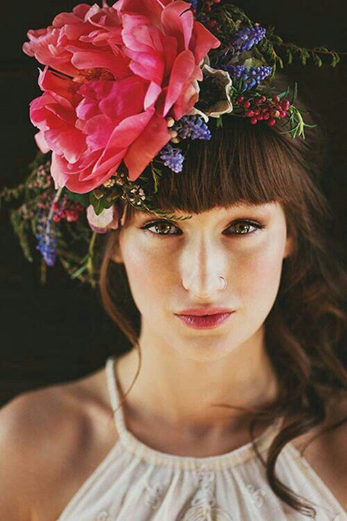 Boho Fresh Floral Peonies, Muscari Hyacinth, Pepper Berries Bridal Headpiece