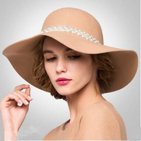 Fashion womens pearl floppy hat for winter wide brim wool hat