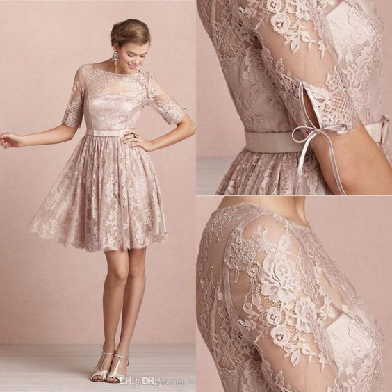 2016 Cheap Backless Sheer Long Sleeves Modest Bridesmaid Dresses Cheap Knee Length Mini Short Lace Cocktail Dresses Party Homecomming Gowns Bridesmaid Designer Dresses Bridesmaid Dresses Designer From Arlene_bridal, $50.69| Dhgate.Com