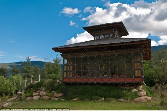 Nestled in the hills outside Paro, Zhiwa Ling is an architectural gem that unites Bhutanes...