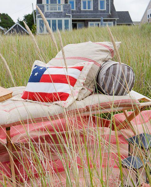 Residential, Beach House, Lawn Furniture, American Flag